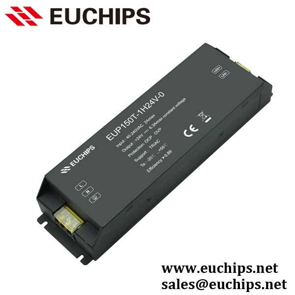 40-240VAC 150W 24VDC 6.25A 1 channel triac constant voltage led dimmable driver EUP150T-1H24V-0