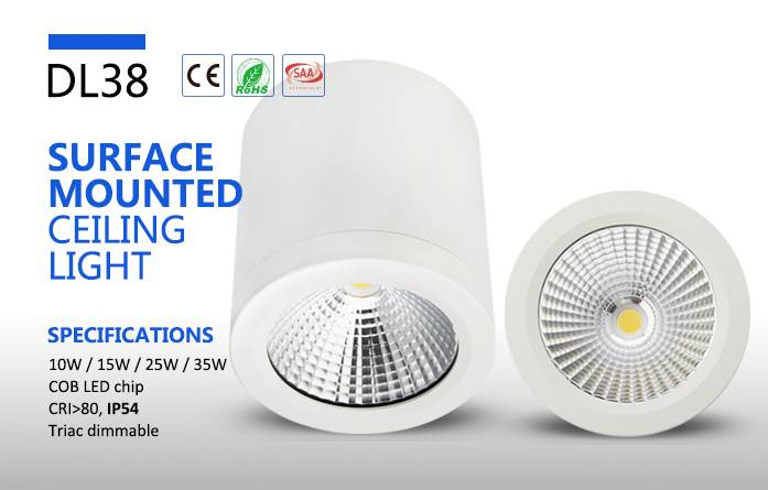 surface mount 240V COB LED light angle 60degree glass cover led downlight 10w