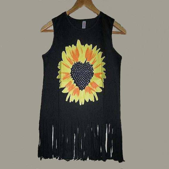 Girls' fashion printing rhinestone vest with fringe