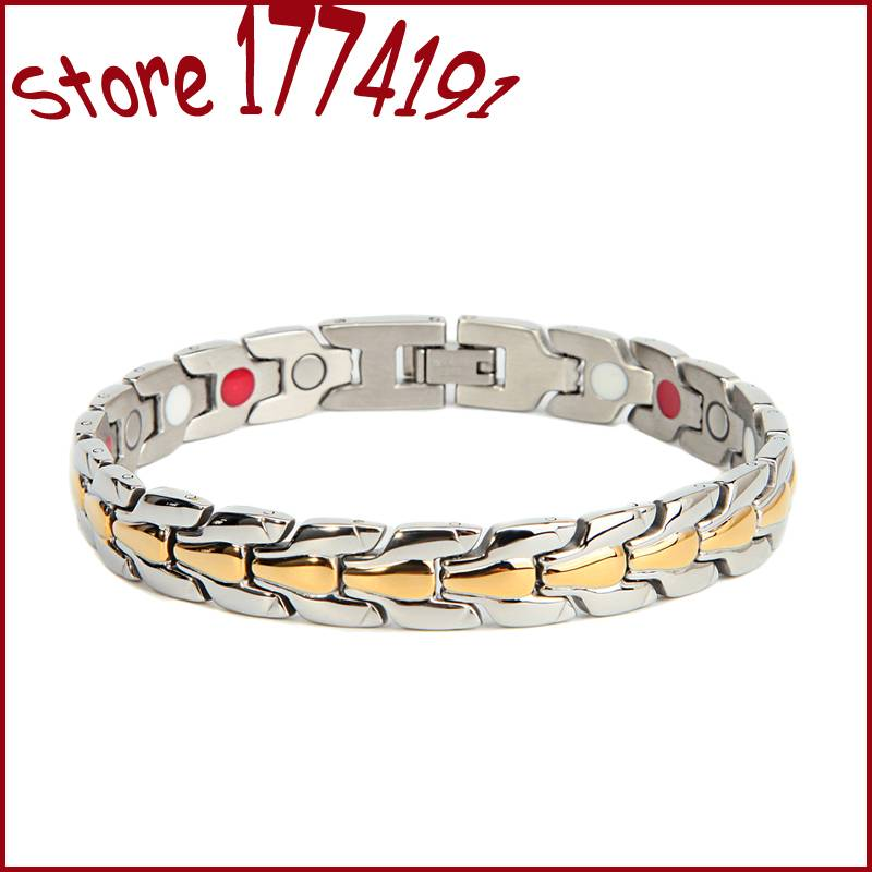 stainless steel magnetic bracelet bracelets & bangles men 18k gold plating unisex bracelet 3 in 1