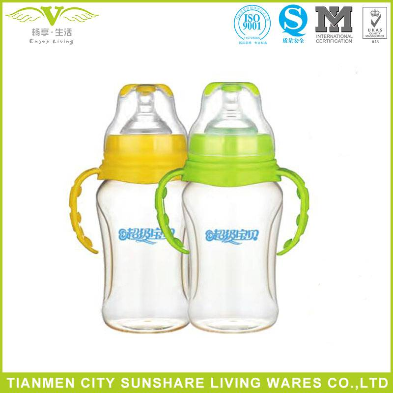 Super Baby Hight Heat Resistance Safety Wide-neck PPSU Baby Feeding Bottles With Handle