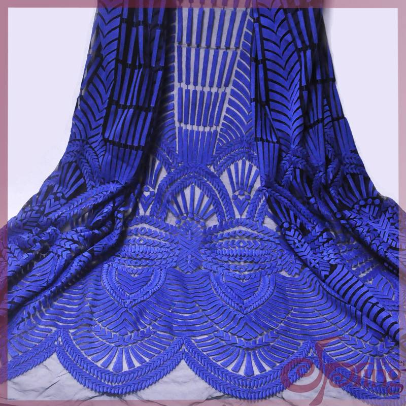 fashion blue embroidery mesh fabric lace