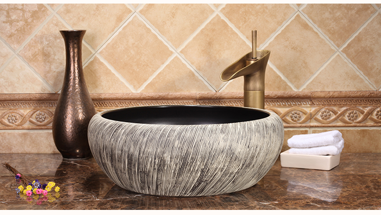 Hotel Modern Luxury High-end Above Countertop Round Washbowl Bathroom Ceramic Wash Basin Sinks