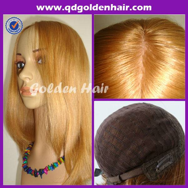 Golden Hair High Quality Virgin Remy European Human Hair Jewish Kosher wig/Jewish wig