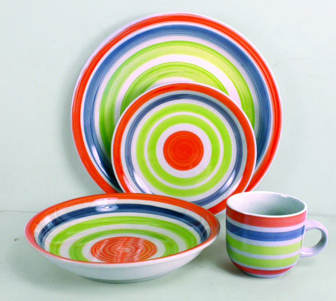 Hand Painted stoneware 16pcs dinnerware set