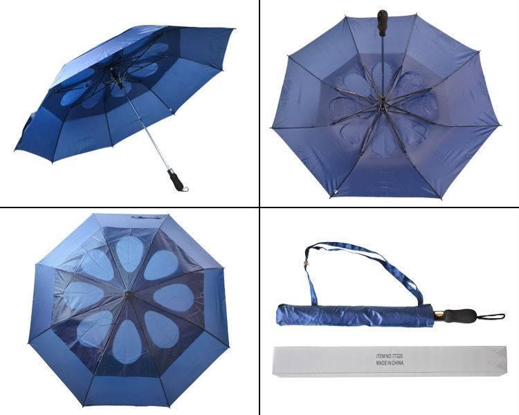 Windproof three fold umbrella fake double auto oipen umrbella