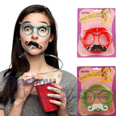 Drinking Straw Glasses Silly Crazy Straw Glasses with Mustache for Promotional Gifts,Premiums,Toys