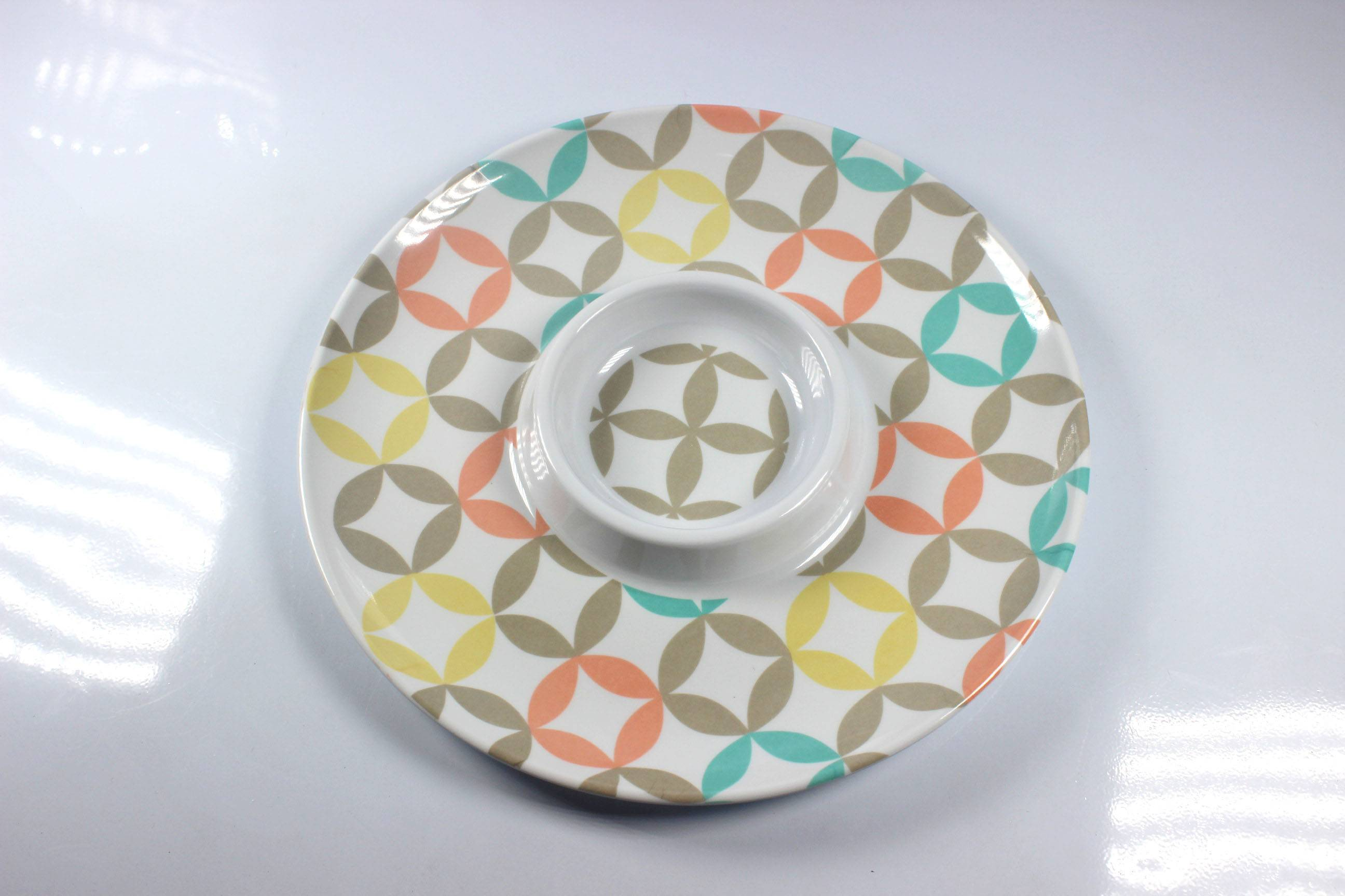"""12'' and 13"""" two section round chip&dip melamine tray"""