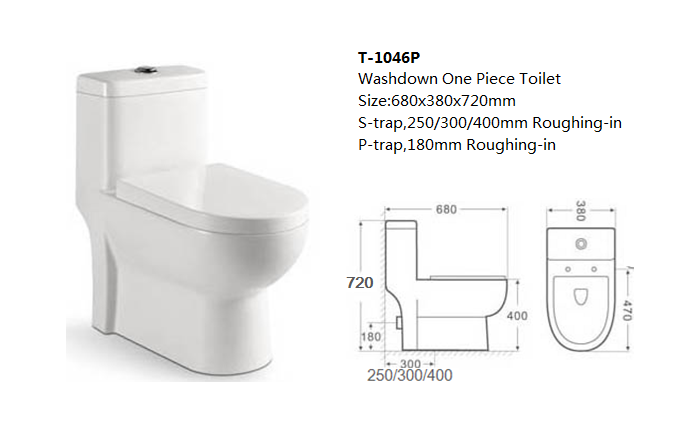washdown 1PC toilet 250mm roughing in Strap toilet