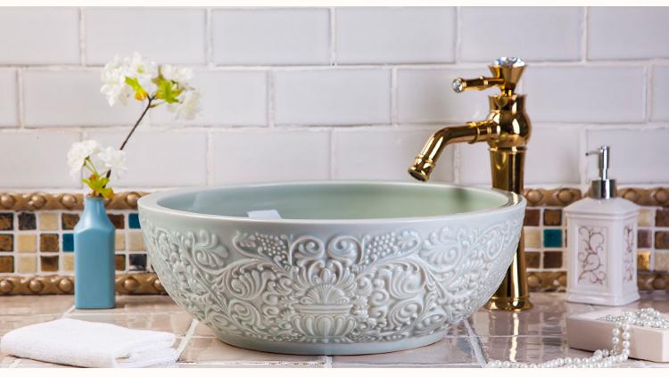 Handmade Painting Retro Bathroom Lavabo Washstand Kitchen Porcelain Sink Washbowl