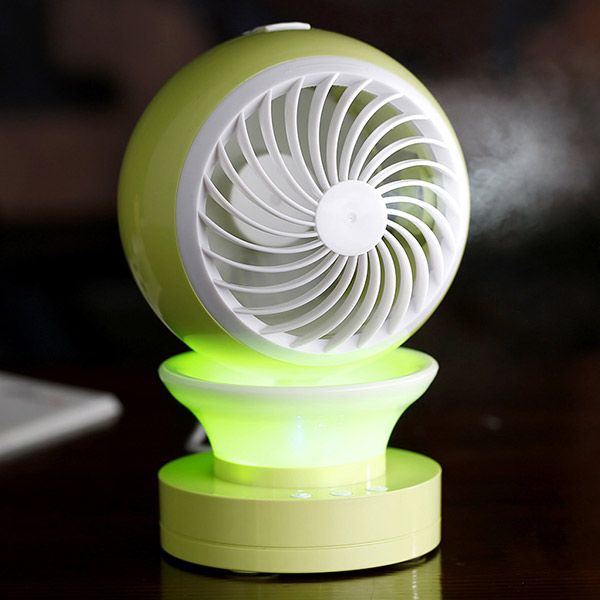 Electric Fan with Humidifier and LED Light