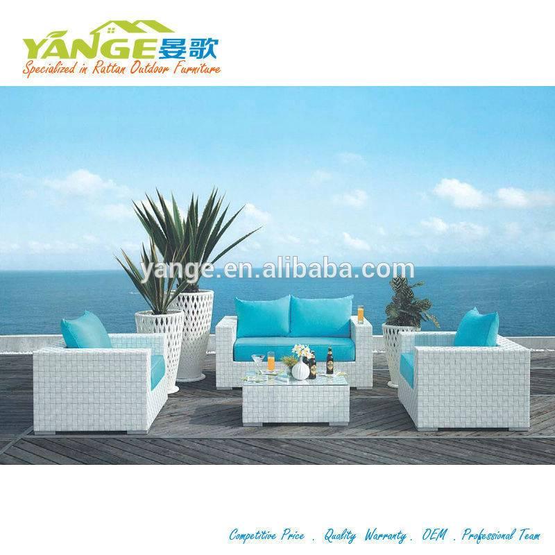 White rattan outdoor furniture patio wicker sofa set