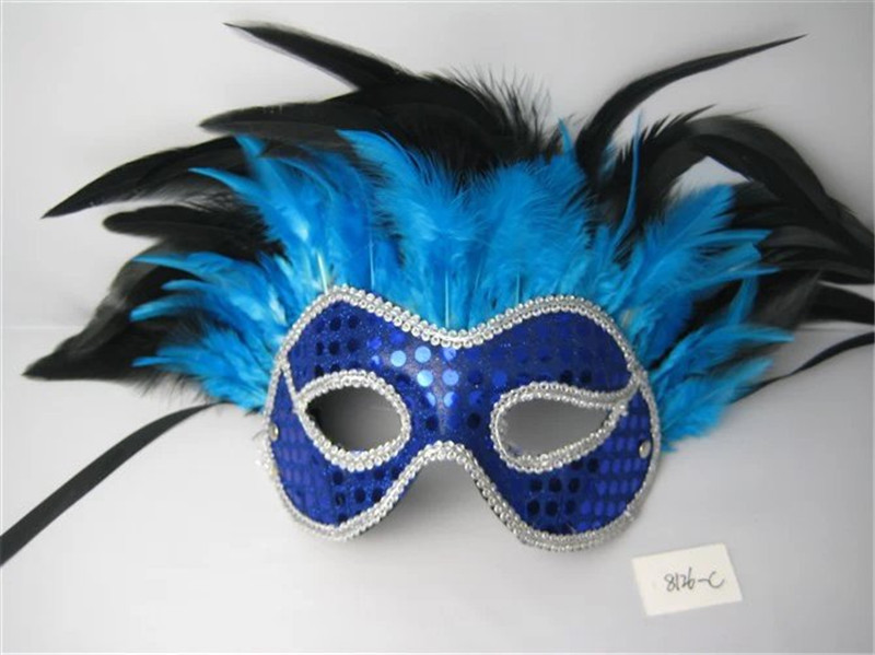 Venetian Christmas Masquerade Party Glittering Half Face Mask With Feather