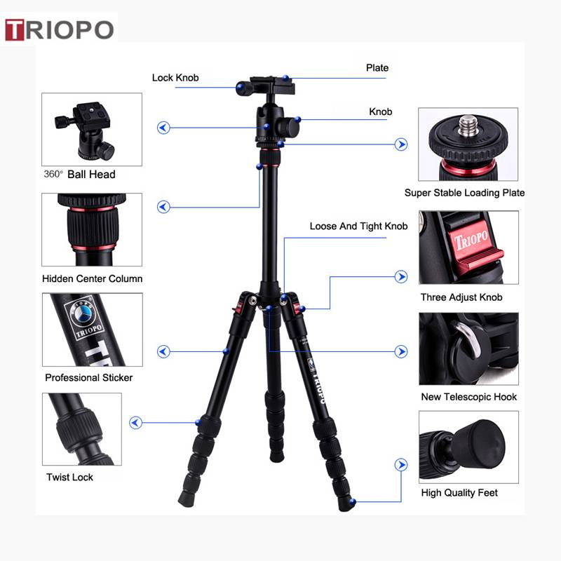 TRIOPO MT-2505+KJ-1S digital tripod kit ,aluminium alloy  tripod ,travel tripod and Marco tripod
