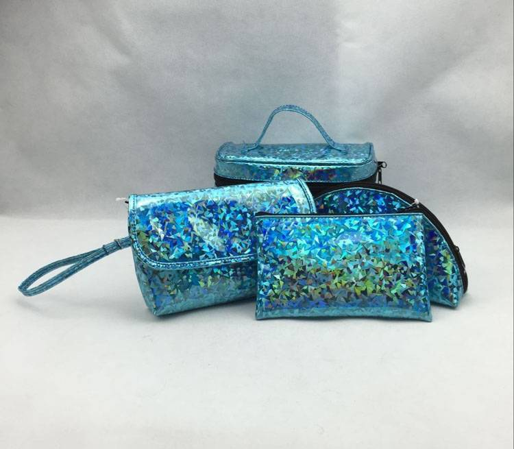 Glitter bling bling fashion blue travel cosmetic bags set for sale