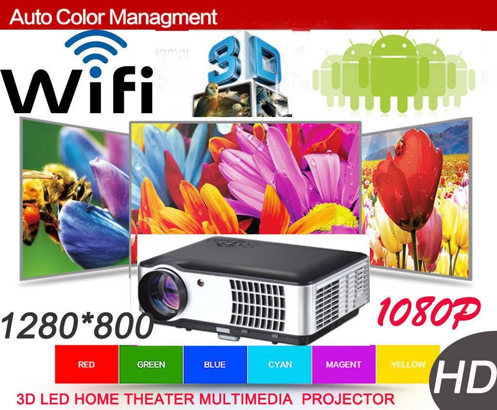 NEW HD 1080P LED Projector Hdmi USB HDTV 2800 Lumin Free Hdmi AND VGA Cable