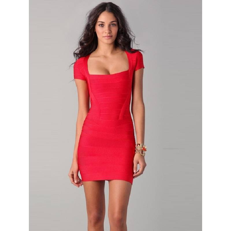 Hot desi2016 red low-cut style summer bodycon sexy dress