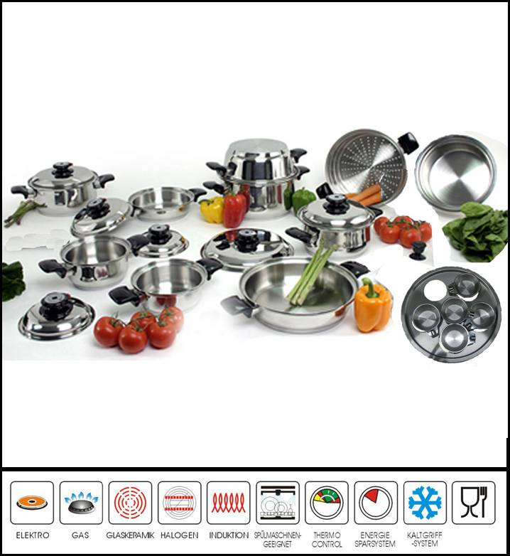 23pcs Wide Rolled Edge Cookware Set