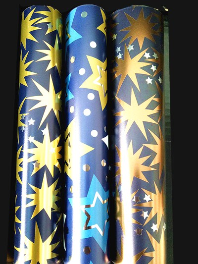 Christmas gift wrapping paper with metallozed paper