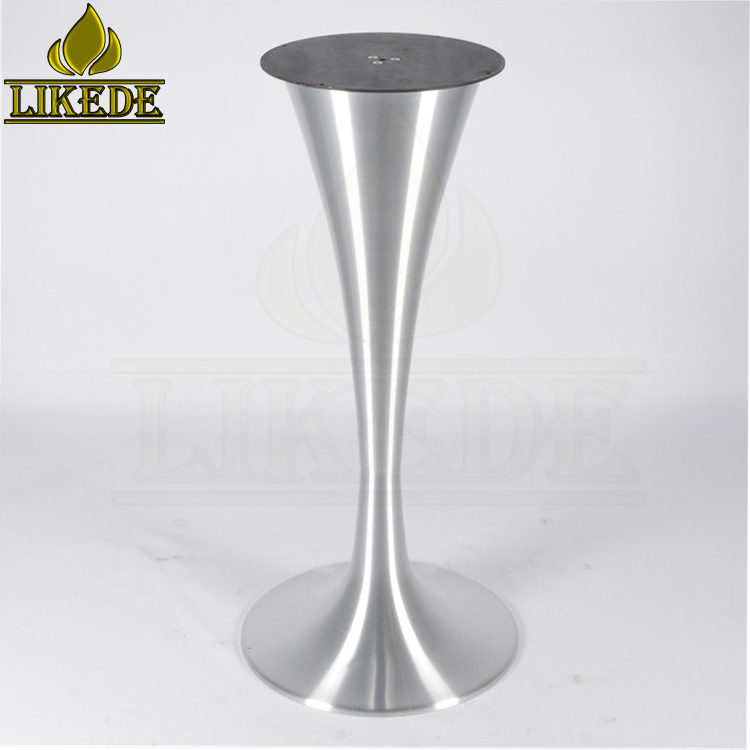 Hot sale brushed aluminum tulip table base for bar/cafe/coffee/bistro/outdoor/beer/reception table