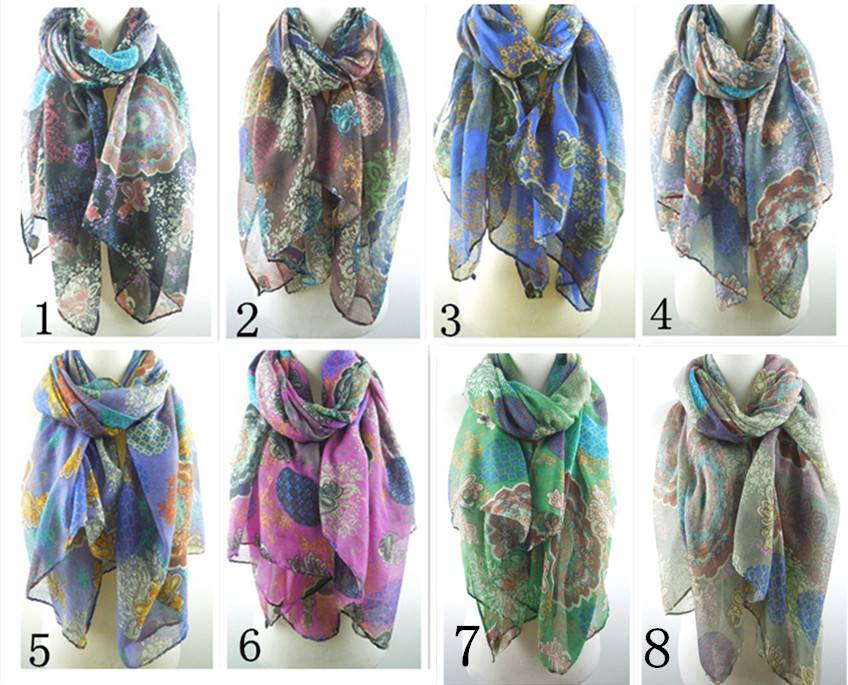 Coloful geometry flowers print scarf/shawls PG922