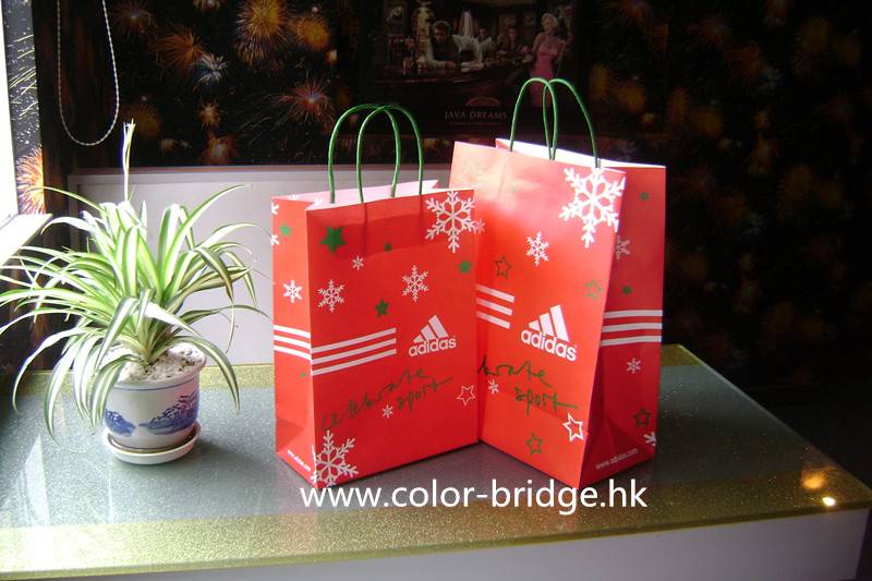 Hot Sale Customizing Christmas Shopping Paper Bag Portable Carrier Gift Bag