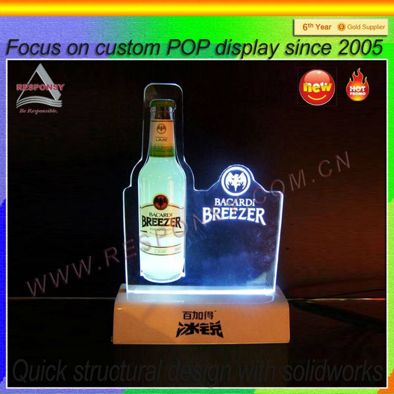 Wooden retail beers/wines display stand with LED light