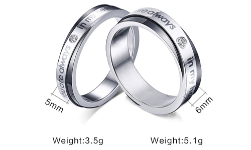 Titanium Steel Promise Love Couple Rings