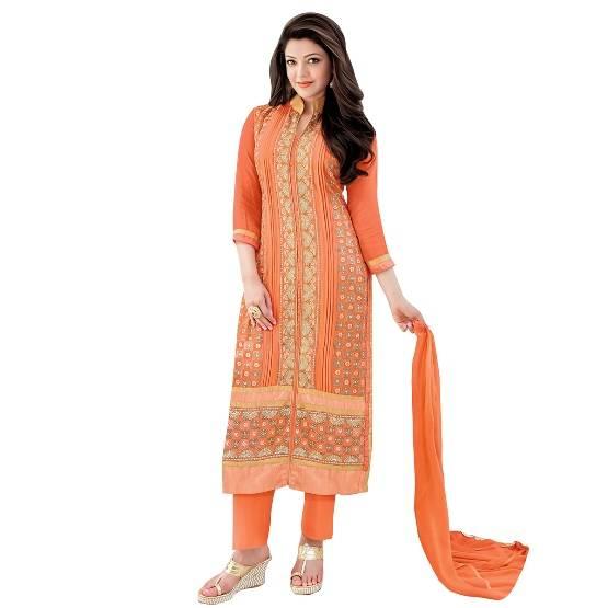 Shonaya Gray Designer Embroidered Faux Georgette Semi Stiched Salwar Suit  MFEKN-62003