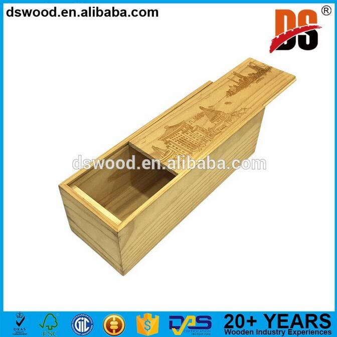 Wood wine bottle box packaging boxes with customized logo wooden box sliding lid