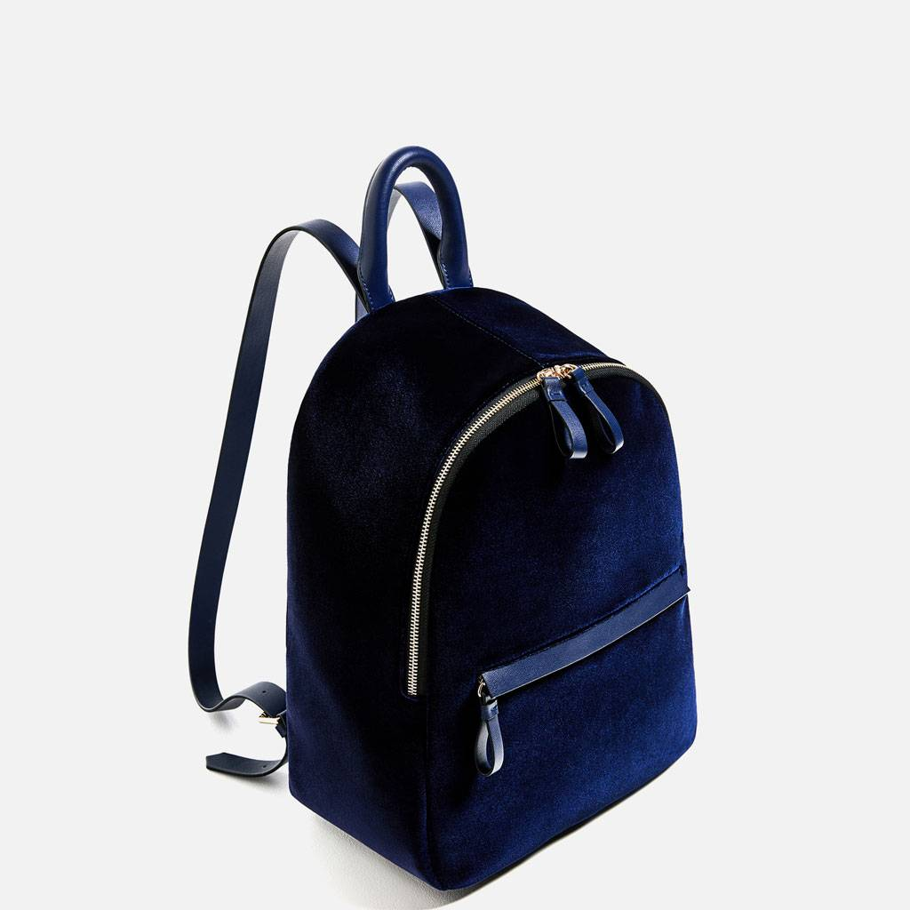Women Velvet Small Rucksack School Book Shoulder Bag
