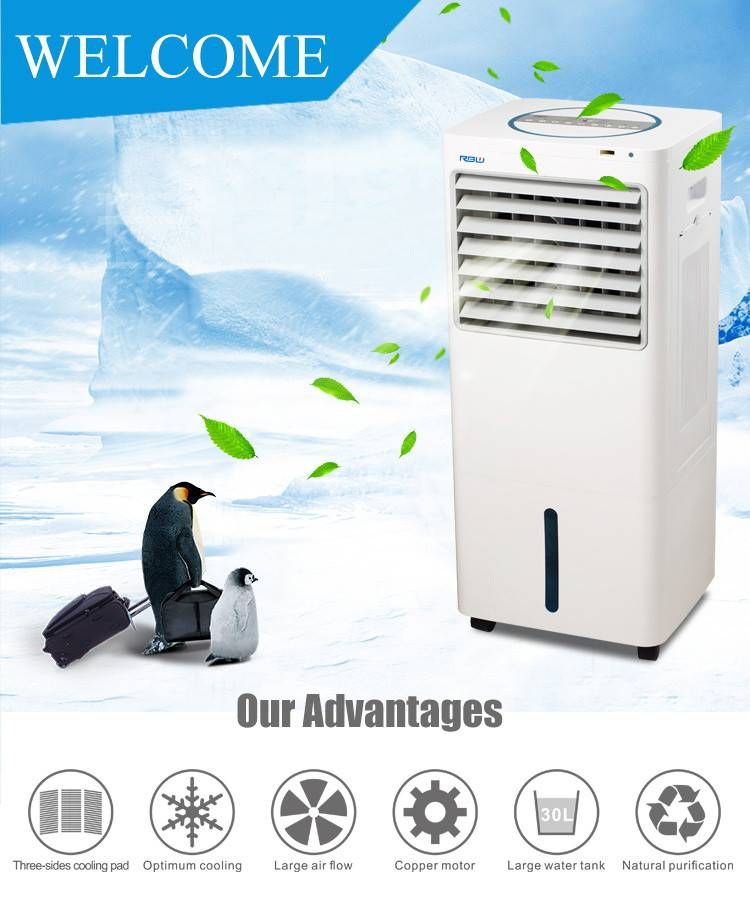 home appliances floor standing portable mobile air cooler with water