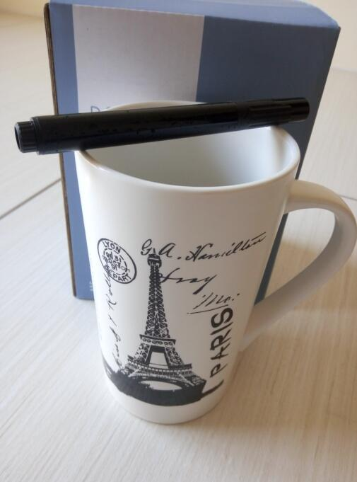 PARIS The Eiffel Tower erasable Ceramic Leave message Writing Lettering Mug Fancy Promotion Gift