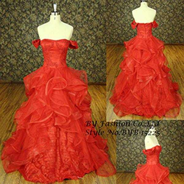 2015 New design tiered lace hand made flower classic dress off shoulder red ball gown elegant bridal