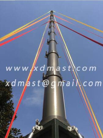 telescopic antenna mast in telecommunication tower