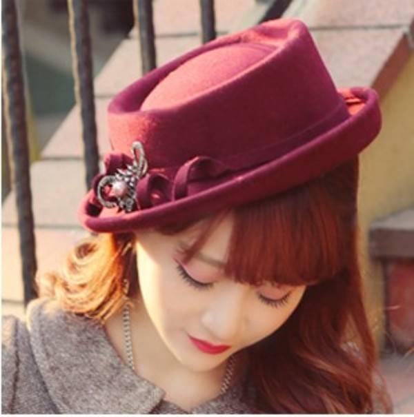 wine red girls wool felt winter hat