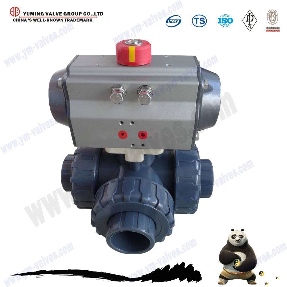 3 way electric actuator pvc thread ball valve
