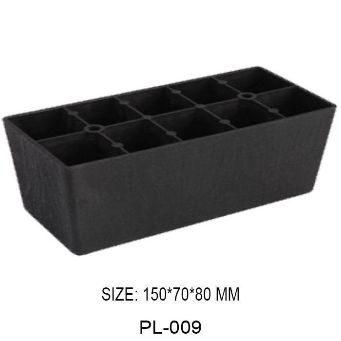 80mm high black furniture leg injection plastic square shape sofa leg