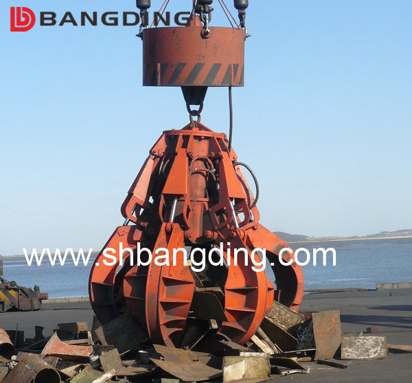12CBM Electric Hydraulic scrap orange peel grab for lifting bulk material