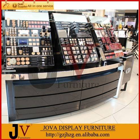 Acrylic display and wooden cosmetic kiosk