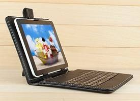 """Black Leather Stand Case Cover USB\Micro USB\Mini USB Keyboard For 7"""" 7 Inch Tablet PC"""