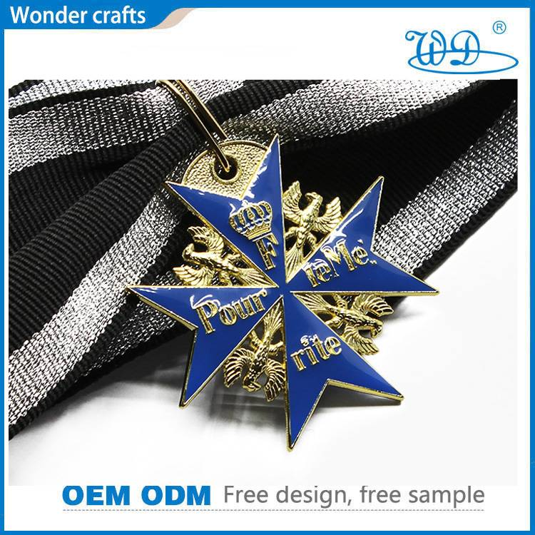 Spin Casting Polygon Shaped Anti-Silver Plated Aluminum Brass Imitation Enamel Blue Max Medals
