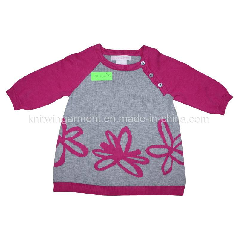 100% cotton knitted girl sweater in round neck long sleeve