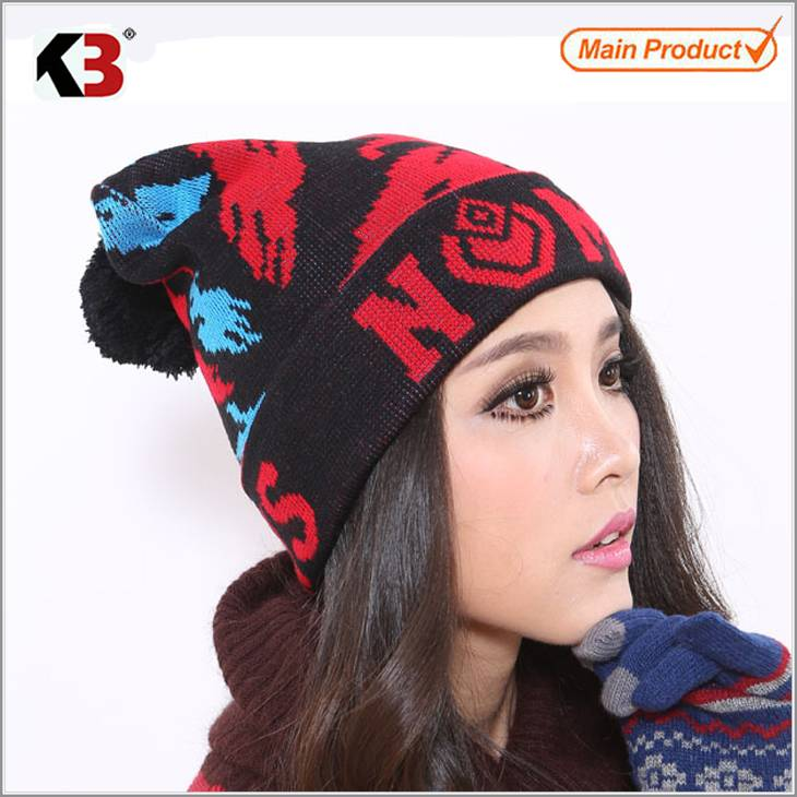 2015 Fashion Style Winter Acrylic Knitted Embroidery Beanie Hat