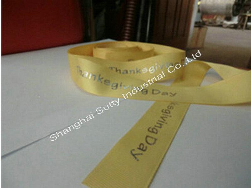 Custom 100% Polyester Ribbon Gold Printing Holiday's Gift Ribbon