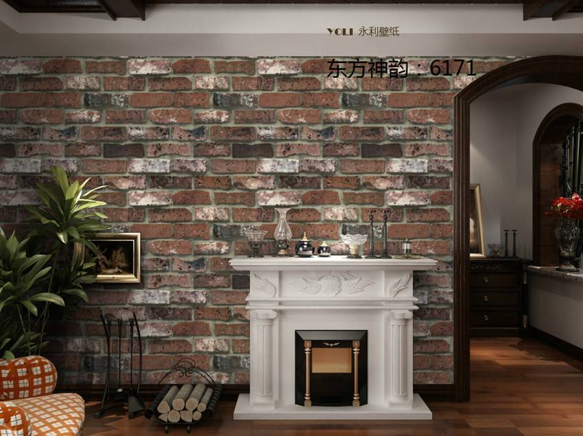 Popular Wood Brick Stone Design PVC Wallpaper for Interior Decoration