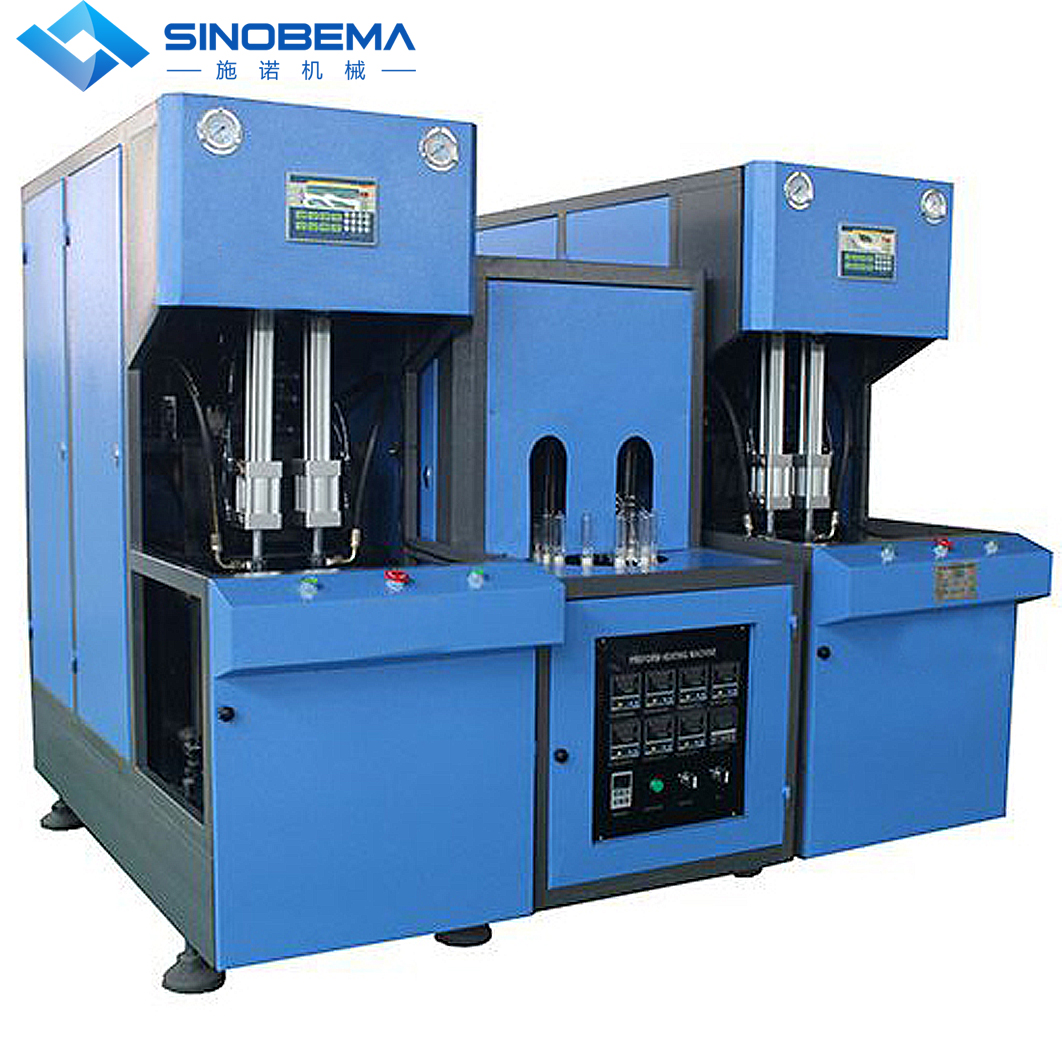 2+2 cavity, semi-automatic blow molding machine. 200ml to 2000ml.