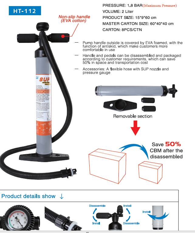 HT-112  Professional SUP hand pump