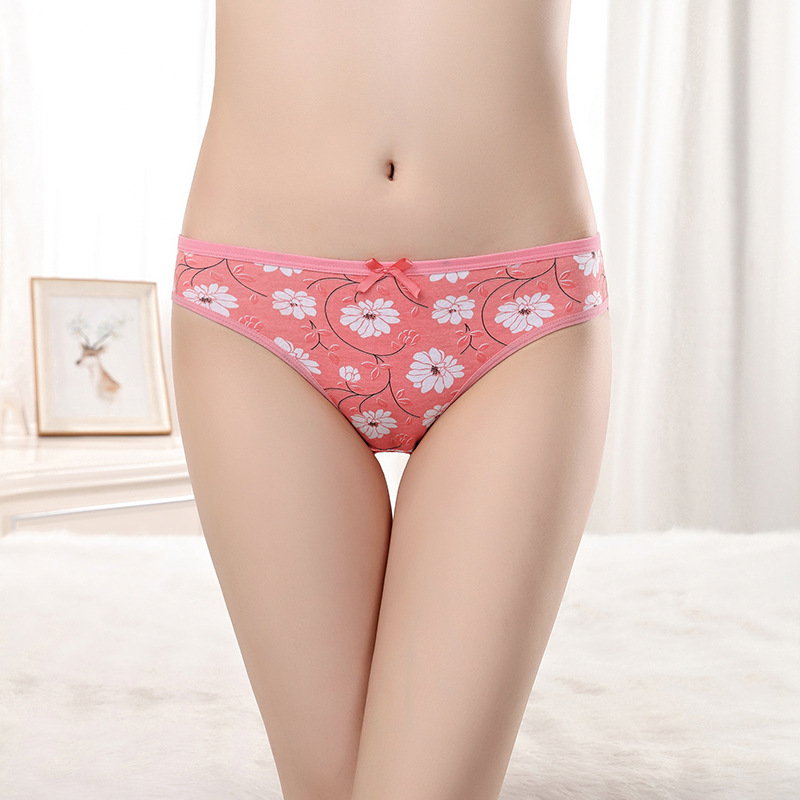 New Arrival Yun Meng Ni Flower Printing Underwear Breathable Cotton Panties Sexy Lingerie