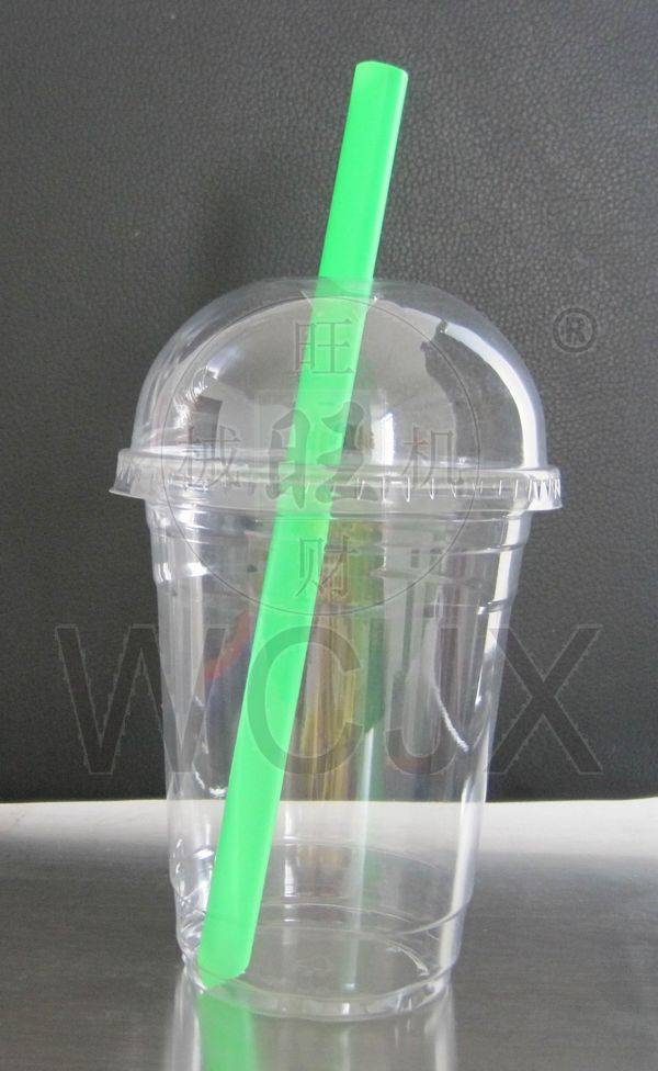 bubble tea plastic cup with lid for boba tea/disposable juice cup with straw for cold drink